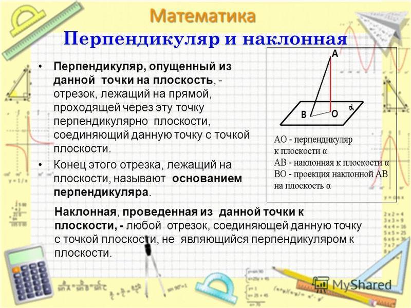 Перпендикуляр и наклонная Перпендикуляр, опущенный из данной точки на плоскость, - отрезок, лежащий на прямой, проходящей через эту точку перпендикулярно плоскости, соединяющий данную точку с точкой плоскости. Конец этого отрезка, лежащий на плоскост