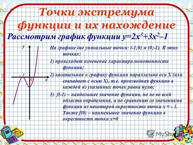 Рассмотрим график функции у=2 х 3 +3 х 2 –1 х у - 1 0 На графике две уникальные точки: (-1;0) и (0;-1). В этих точках: 1) происходит изменение характера монотонности функции; 2) касательная к графику функции параллельна оси Х (или совпадает с осью Х)