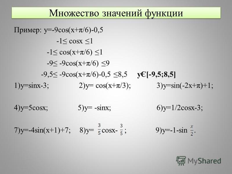 Множество значений функции Пример: y=-9cos(x+π/6)-0,5 -1 cosx 1 -1 cos(x+π/6) 1 -9 -9cos(x+π/6) 9 -9,5 -9cos(x+π/6)-0,5 8,5 yЄ[-9,5;8,5] 1)y=sinx-3; 2)y= cos(x+π/3); 3)y=sin(-2x+π)+1; 4)y=5cosx; 5)y= -sinx; 6)y=1/2cosx-3; 7)y=-4sin(x+1)+7; 8)y= cosx-