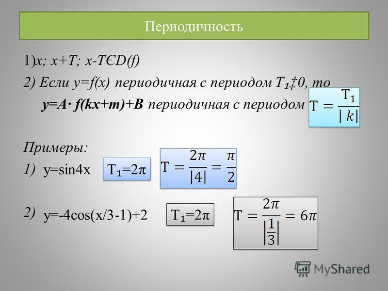 Периодичность 1)x; x+T; x-TЄD(f) 2) Если y=f(x) периодичная с периодом Т 0, то y=A· f(kx+m)+B периодичная с периодом Примеры: 1) 2) y=sin4x Т =2π y=-4cos(x/3-1)+2 T =2π