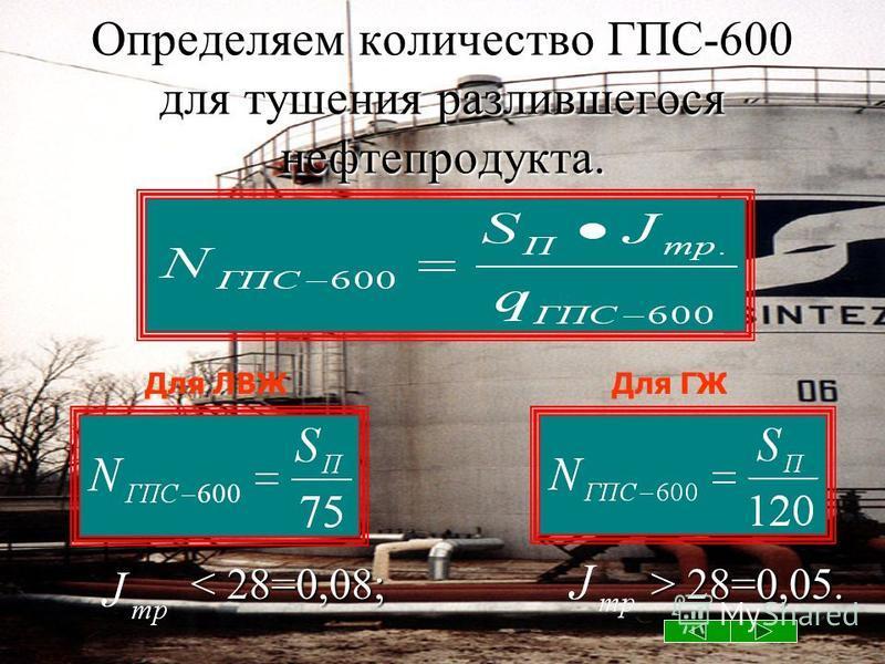 Определяем количество ГПС-600 для тушения разлившегося нефтепродукта. 28=0,05. 28=0,05. Для ГЖДля ЛВЖ