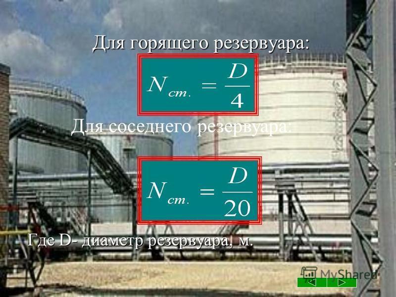 Для горящего резервуара: Для горящего резервуара: Где D- диаметр резервуара, м. Для соседнего резервуара: