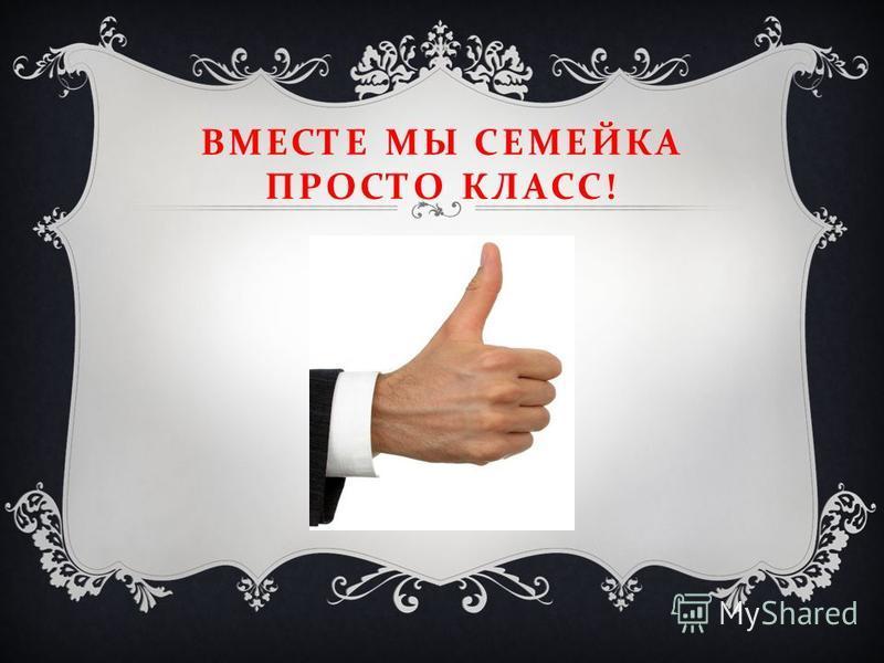 ВМЕСТЕ МЫ СЕМЕЙКА ПРОСТО КЛАСС !