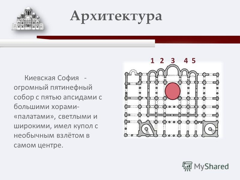 Киевская София - огромный пятинефный собор с пятью апсидами с большими хорами- «палатами», светлыми и широкими, имел купол с необычным взлётом в самом центре. Архитектура 1 2 3 4 5
