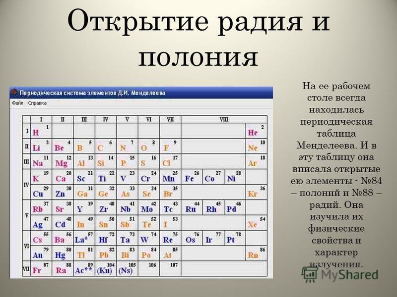 Открытие радия и полония На ее рабочем столе всегда находилась периодическая таблица Менделеева. И в эту таблицу она вписала открытые ею элементы - 84 – полоний и 88 – радий. Она изучила их физические свойства и характер излучения.