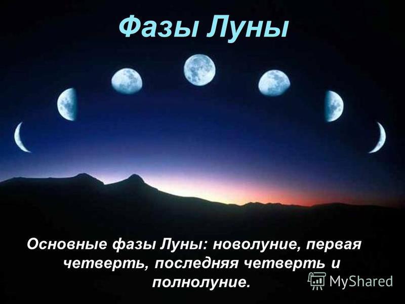 Фазы Луны Основные фазы Луны: новолуние, первая четверть, последняя четверть и полнолуние.