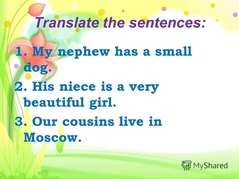 Translate the sentences: 1. My nephew has a small dog. 2. His niece is a very beautiful girl. 3. Our cousins live in Moscow.