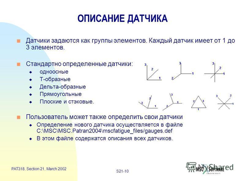 S21-10 PAT318, Section 21, March 2002 ОПИСАНИЕ ДАТЧИКА n Датчики задаются как группы элементов. Каждый датчик имеет от 1 до 3 элементов. n Стандартно определенные датчики: u одноосные u Т-образные u Дельта-образные u Прямоугольные u Плоские и стековы
