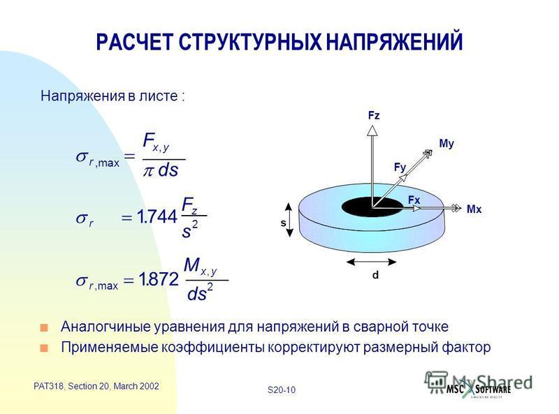 S20-10 PAT318, Section 20, March 2002 Напряжения в листе : s d n Аналогчиные уравнения для напряжений в сварной точке n Применяемые коэффициенты корректируют размерный фактор r xy F ds,max, r z F s 1744 2. r xy M ds,max,. 1872 2 РАСЧЕТ СТРУКТУРНЫХ НА