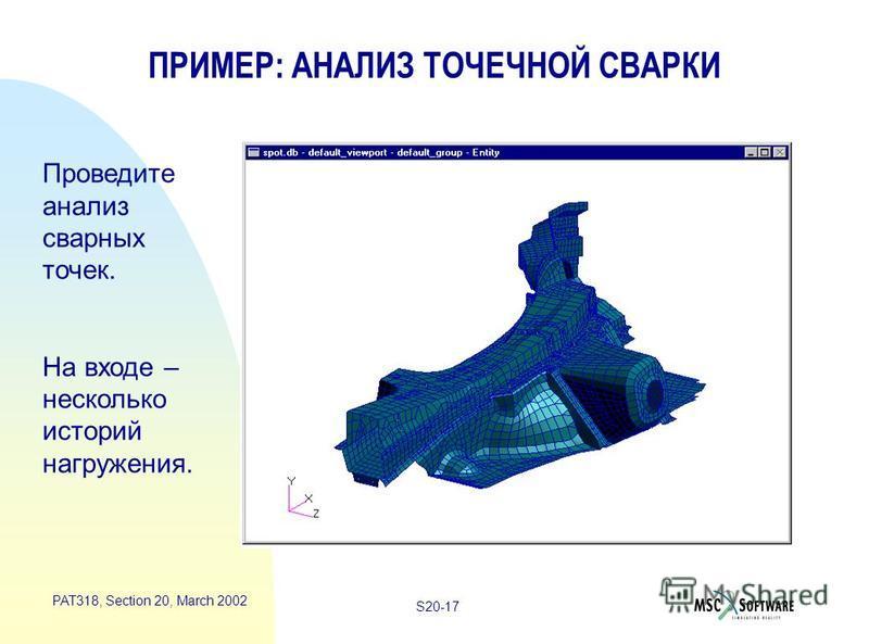 S20-17 PAT318, Section 20, March 2002 ПРИМЕР: АНАЛИЗ ТОЧЕЧНОЙ СВАРКИ Проведите анализ сварных точек. На входе – несколько историй нагружения.