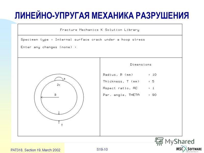 S19-10 PAT318, Section 19, March 2002 ЛИНЕЙНО-УПРУГАЯ МЕХАНИКА РАЗРУШЕНИЯ