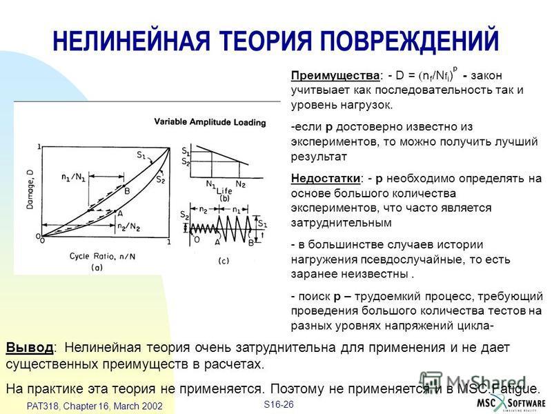 S16-26 PAT318, Chapter 16, March 2002 НЕЛИНЕЙНАЯ ТЕОРИЯ ПОВРЕЖДЕНИЙ Преимущества: - D = n f /N f i ) p - закон учитывает как последовательность так и уровень нагрузок. -если p достоверно известно из экспериментов, то можно получить лучший результат Н