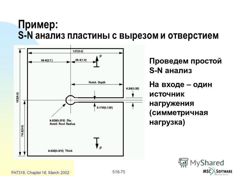 S16-75 PAT318, Chapter 16, March 2002 Пример: S-N анализ пластины с вырезом и отверстием Проведем простой S-N анализ На входе – один источник нагружения (симметричная нагрузка)