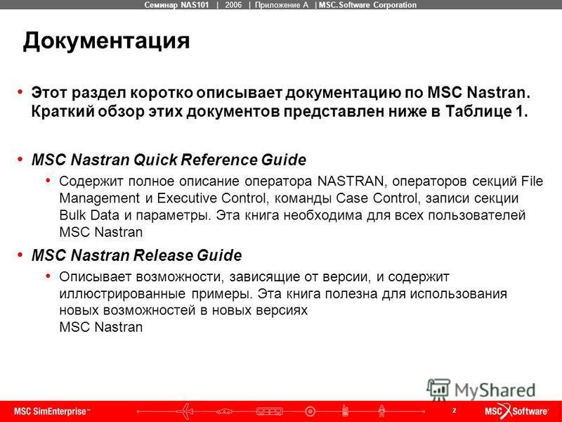2 MSC Confidential Семинар NAS101   2006   Приложение А   MSC.Software Corporation Этот раздел коротко описывает документацию по MSC Nastran. Краткий обзор этих документов представлен ниже в Таблице 1. MSC Nastran Quick Reference Guide Содержит полно