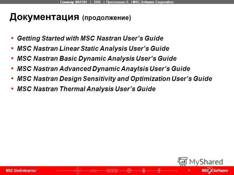 5 MSC Confidential Семинар NAS101 | 2006 | Приложение А | MSC.Software Corporation Документация (продолжение) Getting Started with MSC Nastran Users Guide MSC Nastran Linear Static Analysis Users Guide MSC Nastran Basic Dynamic Analysis Users Guide M