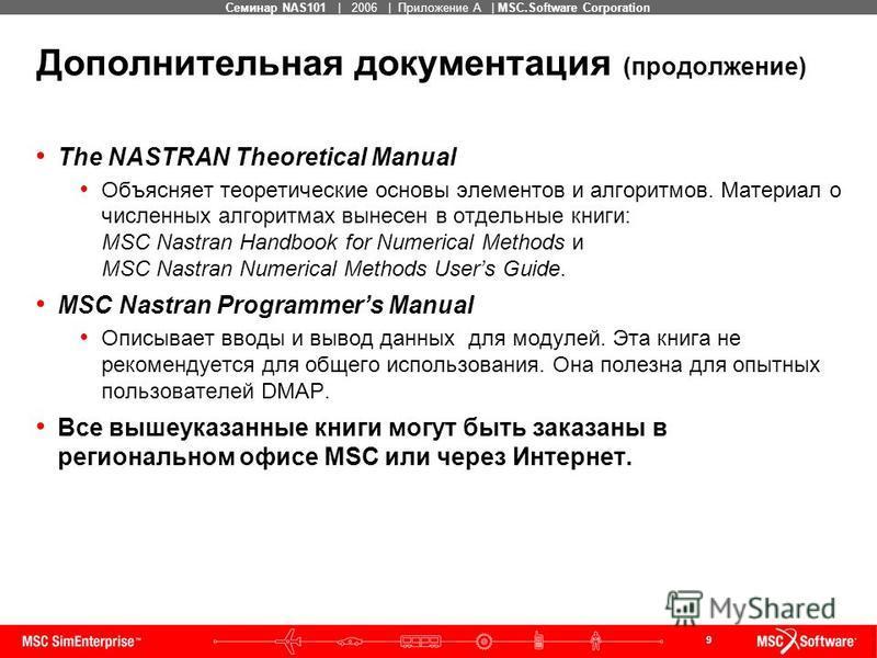 9 MSC Confidential Семинар NAS101   2006   Приложение А   MSC.Software Corporation Дополнительная документация (продолжение) The NASTRAN Theoretical Manual Объясняет теоретические основы элементов и алгоритмов. Материал о численных алгоритмах вынесен