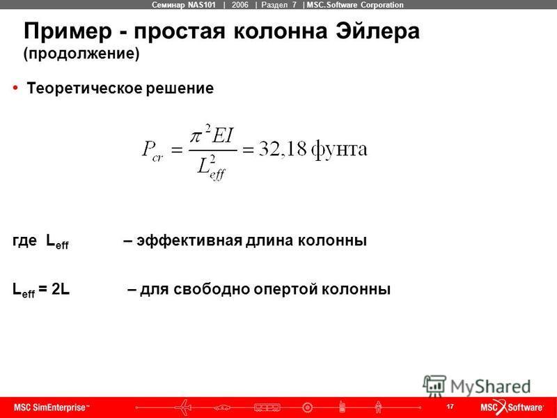 17 MSC Confidential Семинар NAS101 | 2006 | Раздел 7 | MSC.Software Corporation Пример - простая колонна Эйлера (продолжение) Теоретическое решение где L eff – эффективная длина колонны L eff = 2L – для свободно опертой колонны
