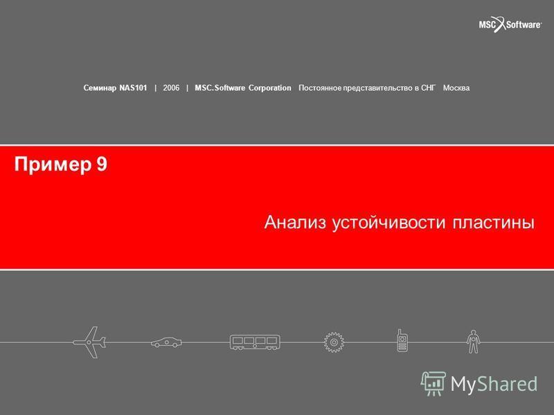 Семинар NAS101 | 2006 | MSC.Software Corporation Постоянное представительство в СНГ Москва Пример 9 Анализ устойчивости пластины