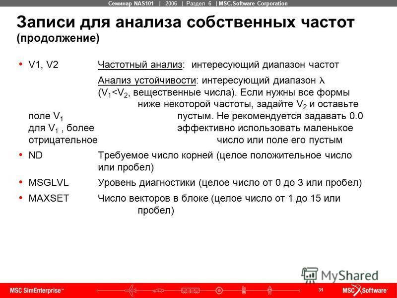 31 MSC Confidential Семинар NAS101 | 2006 | Раздел 6 | MSC.Software Corporation Записи для анализа собственных частот (продолжение) V1, V2Частотный анализ: интересующий диапазон частот Анализ устойчивости: интересующий диапазон (V 1 <V 2, вещественны