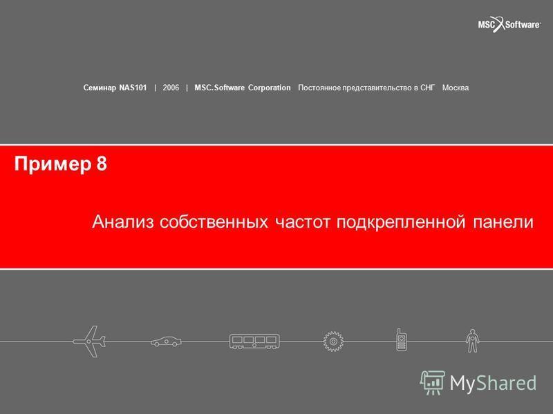 Семинар NAS101 | 2006 | MSC.Software Corporation Постоянное представительство в СНГ Москва Пример 8 Анализ собственных частот подкрепленной панели
