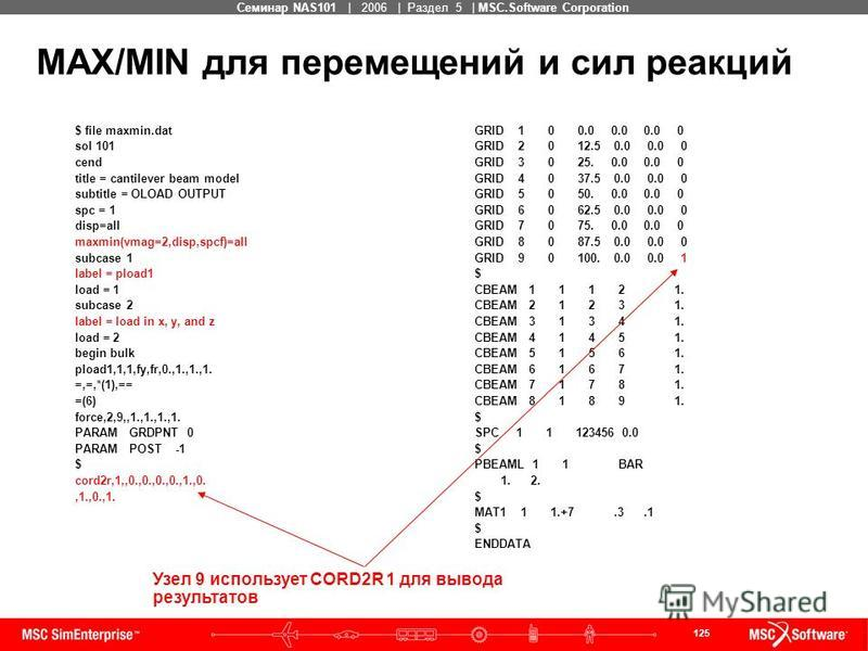 125 MSC Confidential Семинар NAS101 | 2006 | Раздел 5 | MSC.Software Corporation MAX/MIN для перемещений и сил реакций $ file maxmin.dat sol 101 cend title = cantilever beam model subtitle = OLOAD OUTPUT spc = 1 disp=all maxmin(vmag=2,disp,spcf)=all