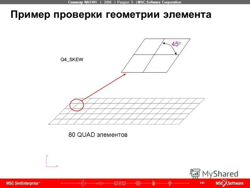 143 MSC Confidential Семинар NAS101 | 2006 | Раздел 5 | MSC.Software Corporation 45 o 80 QUAD элементов Пример проверки геометрии элемента