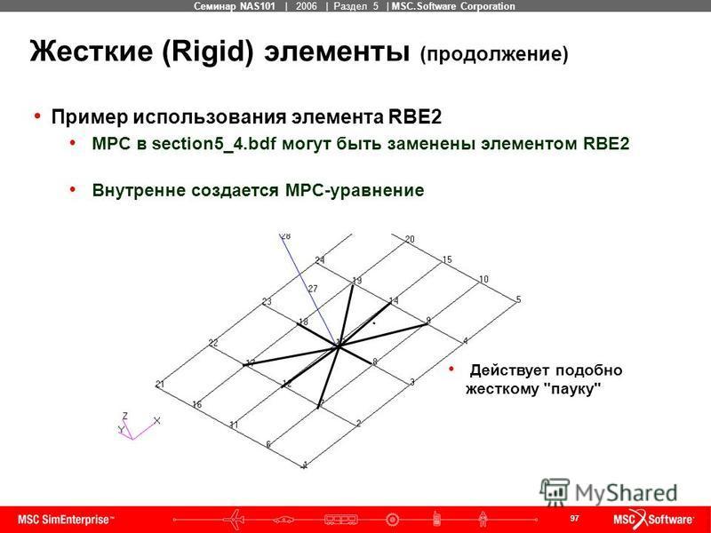 97 MSC Confidential Семинар NAS101 | 2006 | Раздел 5 | MSC.Software Corporation Жесткие (Rigid) элементы (продолжение) Пример использования элемента RBE2 MPC в section5_4. bdf могут быть заменены элементом RBE2 Внутренне создается MPC-уравнение Дейст