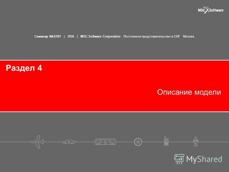 Семинар NAS101 | 2006 | MSC.Software Corporation Постоянное представительство в СНГ Москва Раздел 4 Описание модели