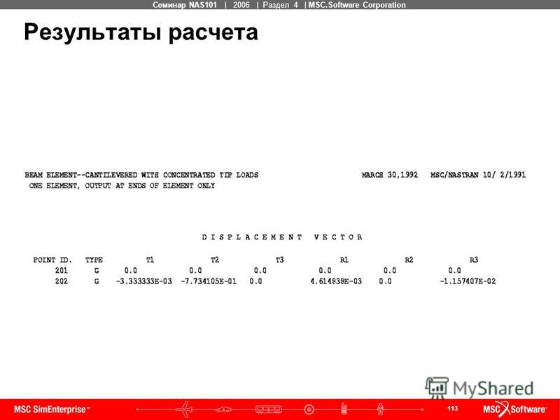 113 MSC Confidential Семинар NAS101 | 2006 | Раздел 4 | MSC.Software Corporation Результаты расчета