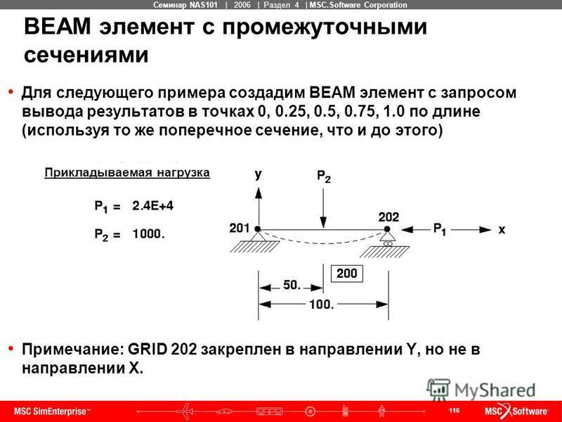 116 MSC Confidential Семинар NAS101 | 2006 | Раздел 4 | MSC.Software Corporation BEAM элемент с промежуточными сечениями Для следующего примера создадим BEAM элемент с запросом вывода результатов в точках 0, 0.25, 0.5, 0.75, 1.0 по длине (используя т