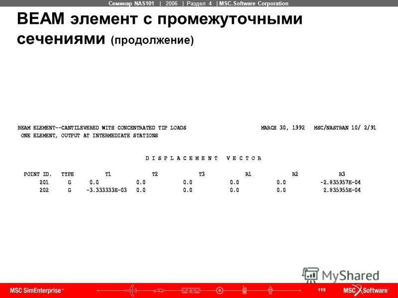 119 MSC Confidential Семинар NAS101 | 2006 | Раздел 4 | MSC.Software Corporation BEAM элемент с промежуточными сечениями (продолжение)