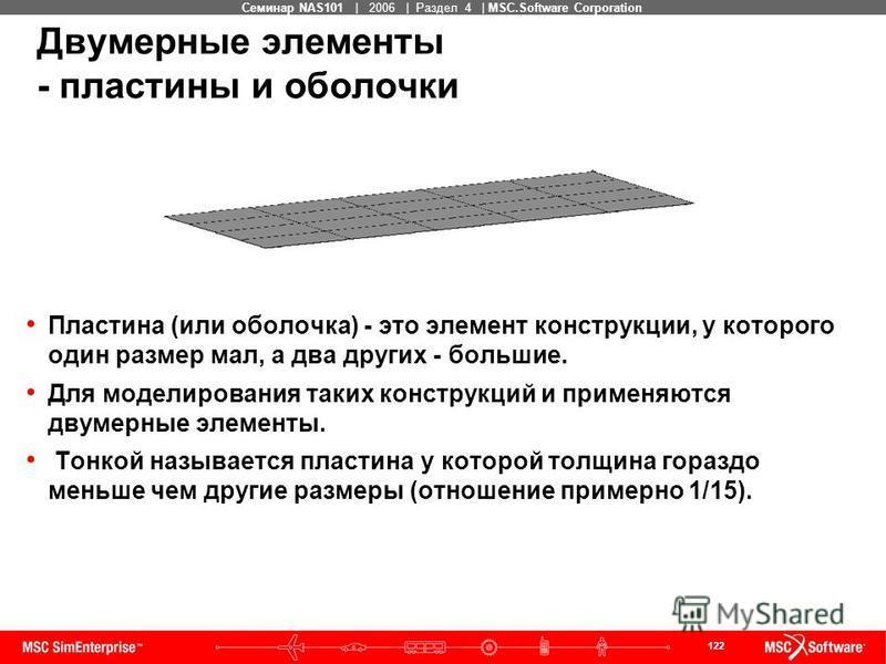 122 MSC Confidential Семинар NAS101 | 2006 | Раздел 4 | MSC.Software Corporation Двумерные элементы - пластины и оболочки Пластина (или оболочка) - это элемент конструкции, у которого один размер мал, а два других - большие. Для моделирования таких к