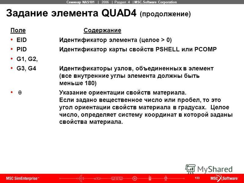 133 MSC Confidential Семинар NAS101 | 2006 | Раздел 4 | MSC.Software Corporation Задание элемента QUAD4 (продолжение) Поле Содержание EID Идентификатор элемента (целое > 0) PID Идентификатор карты свойств PSHELL или PCOMP G1, G2, G3, G4 Идентификатор