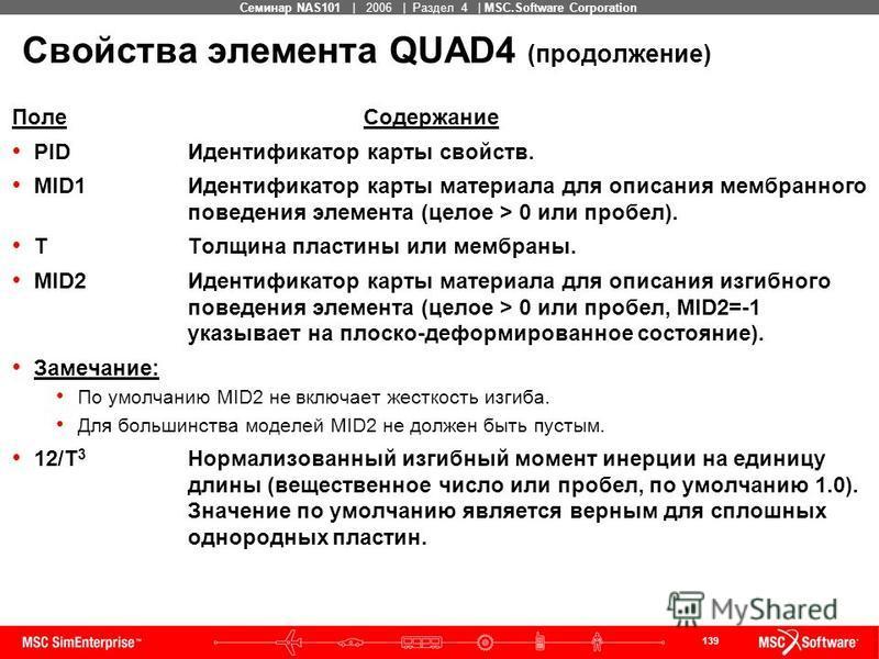 139 MSC Confidential Семинар NAS101 | 2006 | Раздел 4 | MSC.Software Corporation Свойства элемента QUAD4 (продолжение) Поле Содержание PIDИдентификатор карты свойств. MID1Идентификатор карты материала для описания мембранного поведения элемента (цело