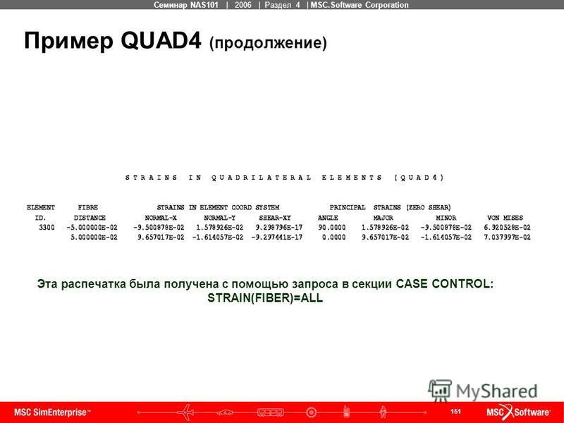 151 MSC Confidential Семинар NAS101 | 2006 | Раздел 4 | MSC.Software Corporation Пример QUAD4 (продолжение) Эта распечатка была получена с помощью запроса в секции CASE CONTROL: STRAIN(FIBER)=ALL
