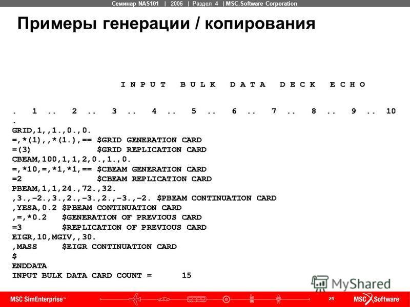 24 MSC Confidential Семинар NAS101 | 2006 | Раздел 4 | MSC.Software Corporation Примеры генерации / копирования
