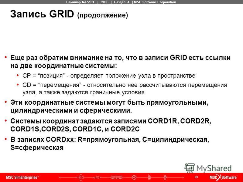 31 MSC Confidential Семинар NAS101 | 2006 | Раздел 4 | MSC.Software Corporation Запись GRID (продолжение) Еще раз обратим внимание на то, что в записи GRID есть ссылки на две координатные системы: CP = позиция - определяет положение узла в пространст