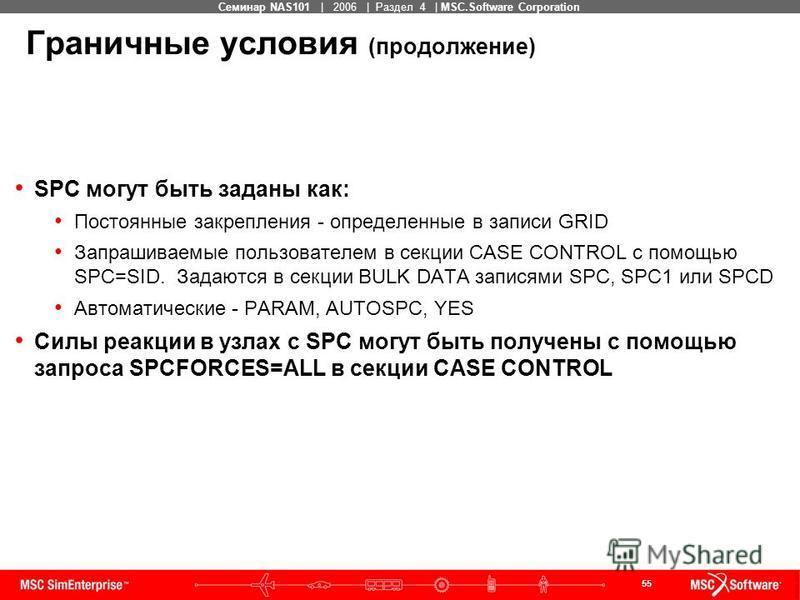 55 MSC Confidential Семинар NAS101 | 2006 | Раздел 4 | MSC.Software Corporation Граничные условия (продолжение) SPC могут быть заданы как: Постоянные закрепления - определенные в записи GRID Запрашиваемые пользователем в секции CASE CONTROL с помощью