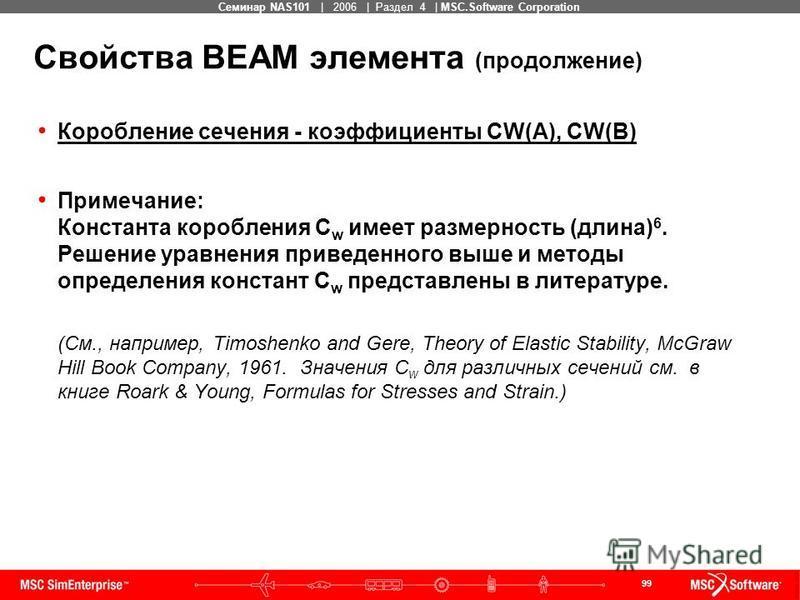 99 MSC Confidential Семинар NAS101 | 2006 | Раздел 4 | MSC.Software Corporation Свойства BEAM элемента (продолжение) Коробление сечения - коэффициенты CW(A), CW(B) Примечание: Константа коробления C w имеет размерность (длина) 6. Решение уравнения пр
