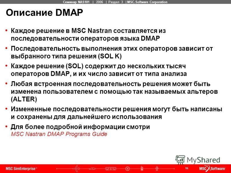 15 MSC Confidential Семинар NAS101 | 2006 | Раздел 3 | MSC.Software Corporation Описание DMAP Каждое решение в MSC Nastran составляется из последовательности операторов языка DMAP Последовательность выполнения этих операторов зависит от выбранного ти