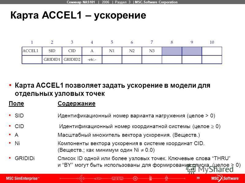 39 MSC Confidential Семинар NAS101 | 2006 | Раздел 3 | MSC.Software Corporation Карта ACCEL1 – ускорение Карта ACCEL1 позволяет задать ускорение в модели для отдельных узловых точек Поле Содержание SIDИдентификационный номер варианта нагружения (цело