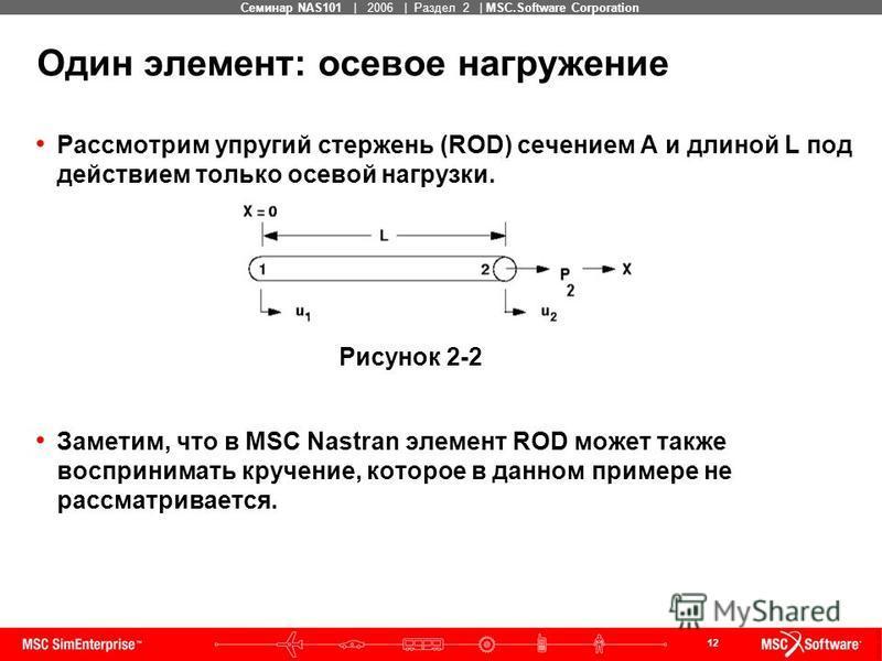 12 MSC Confidential Семинар NAS101 | 2006 | Раздел 2 | MSC.Software Corporation Один элемент: осевое нагружение Рассмотрим упругий стержень (ROD) сечением A и длиной L под действием только осевой нагрузки. Заметим, что в MSC Nastran элемент ROD может