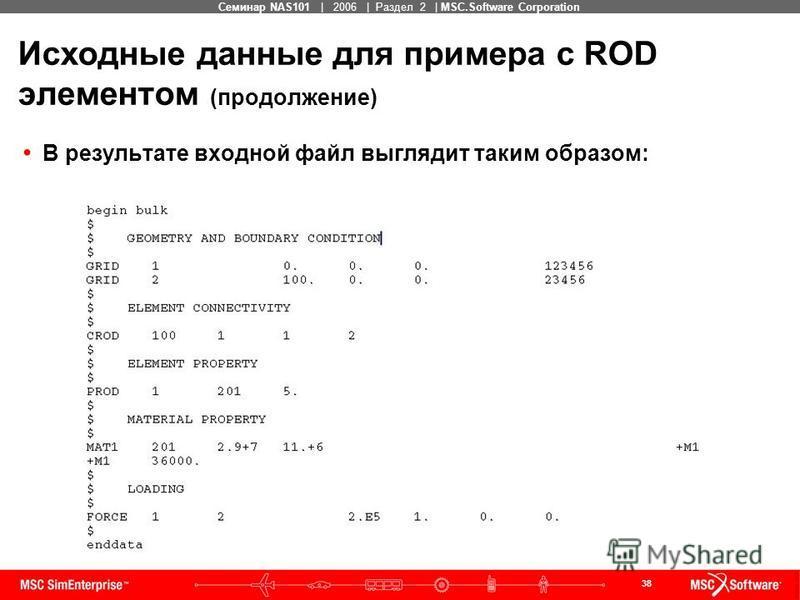 38 MSC Confidential Семинар NAS101 | 2006 | Раздел 2 | MSC.Software Corporation Исходные данные для примера с ROD элементом (продолжение) В результате входной файл выглядит таким образом: