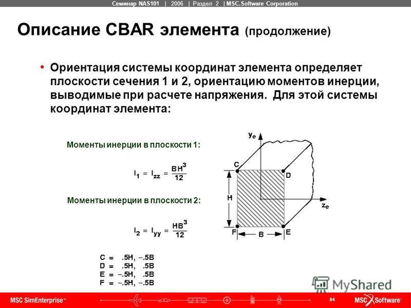 84 MSC Confidential Семинар NAS101 | 2006 | Раздел 2 | MSC.Software Corporation Описание CBAR элемента (продолжение) Ориентация системы координат элемента определяет плоскости сечения 1 и 2, ориентацию моментов инерции, выводимые при расчете напряжен