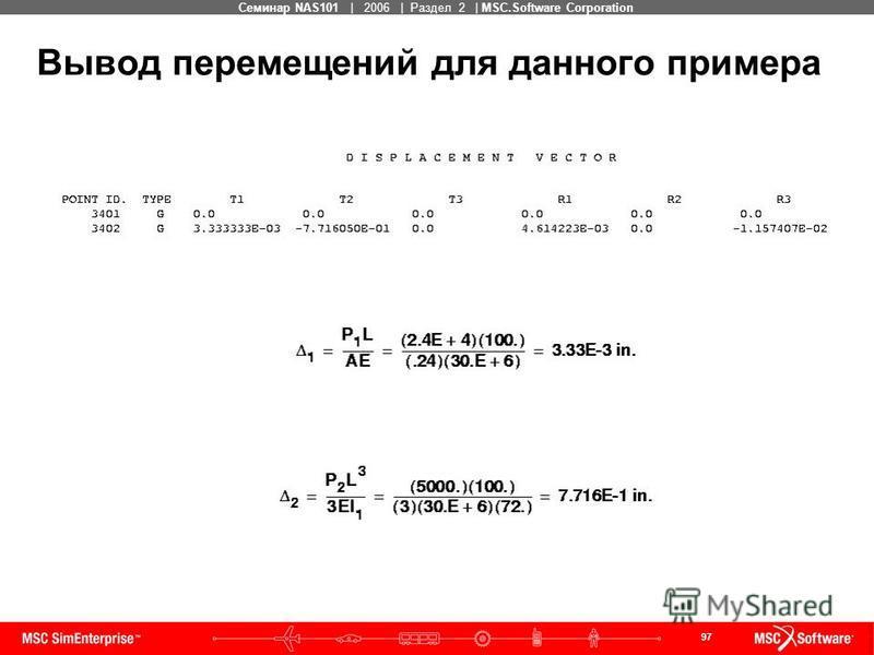 97 MSC Confidential Семинар NAS101 | 2006 | Раздел 2 | MSC.Software Corporation Вывод перемещений для данного примера