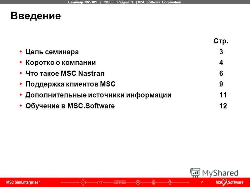 2 MSC Confidential Семинар NAS101 | 2006 | Раздел 1 | MSC.Software Corporation Стр. Цель семинара 3 Коротко о компании 4 Что такое MSC Nastran 6 Поддержка клиентов MSC 9 Дополнительные источники информации 11 Обучение в MSC.Software 12 Введение