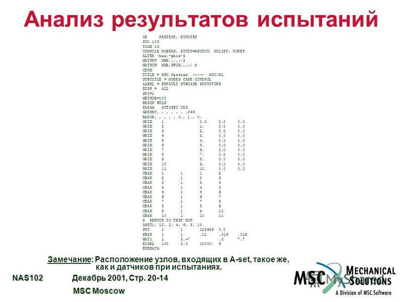 NAS102 Декабрь 2001, Стр. 20-14 MSC Moscow MSC Moscow ID PRETEST, DYNOTES SOL 103 TIME 15 COMPILE MODERS, SOUIN=MSCSOU, NOLIST, NOREF ALTER mxx.*phix$ MATPRN MXX,,,,//$ MATPCH MXX,PHIX,,,// $ CEND TITLE = MSC.Nastran ----- MSC/XL SUBTITLE = MODES CAS