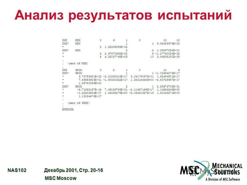 NAS102 Декабрь 2001, Стр. 20-16 MSC Moscow MSC Moscow DMI MXX 0 6 1 0 10 10 DMI* MXX 1 1 9.62499976E-02 * 3 1.92499999E-02 DMI* MXX 2 2 1.38867334E-01 * 4 2.67470982E-02 6 -1.37760025E-02 * 8 4.32037748E-03 10 3.94638191E-05.. (rest of MXX). DMI PHIX