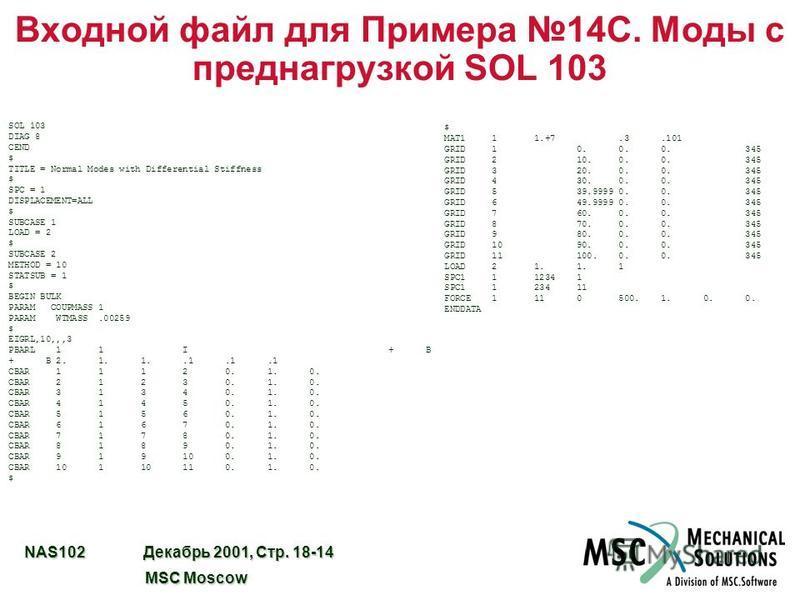 NAS102 Декабрь 2001, Стр. 18-14 MSC Moscow MSC Moscow Входной файл для Примера 14C. Моды с преднагрузкой SOL 103 SOL 103 DIAG 8 CEND $ TITLE = Normal Modes with Differential Stiffness $ SPC = 1 DISPLACEMENT=ALL $ SUBCASE 1 LOAD = 2 $ SUBCASE 2 METHOD