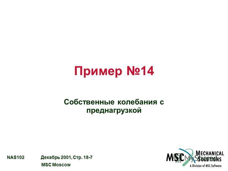 NAS102 Декабрь 2001, Стр. 18-7 MSC Moscow MSC Moscow Пример 14 Собственные колебания с преднагрузкой